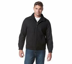 London Fog Men's Wool Blend Stand Collar Jacket with Bib, Bl