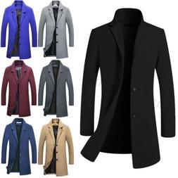 Men's Wool Blends Coat Winter Warm Trench Coat Outerwear Ove
