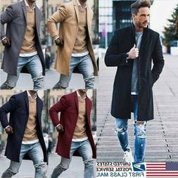 Men's Wool Coat Trench Coat Outwear Overcoat Long Sleeve But