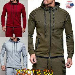 Men Solid Full Zip Up Hoodie Zipper Sweatshirt Classic Hoode