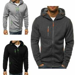 Men Solid Zip Up Hoodie Classic Winter Hooded Sweatshirt Jac
