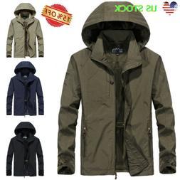 Men Waterproof Windbreaker Zipper Hooded Jacket Casual Light