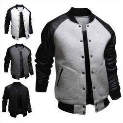 Men Winter Casual Varsity Baseball Long Sleeve Jacket Coat B