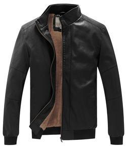 WenVen Men Winter Leather Jacket Fleece Lined Warm Bomber Ja