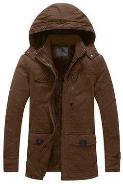 WenVen Men Winter Parka Thicken Cotton Jacket Warm Coat with