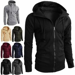 Men Winter Slim Hoodie Warm Hooded Sweatshirt Coat Zip Up Ou