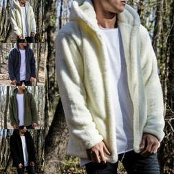 Men Winter Thick Hoodies Tops Fluffy Fleece Fur Jacket Hoode