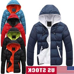 Men Winter Warm Cotton Down Jacket Ski Jacket Snow Thick Hoo