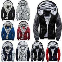 Men Winter Warm Hoodie Jacket Fur Lined Thick Fleece Hooded
