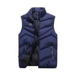 Men Winter Zipper Vest Sleeveless Puffer Warm Outwear Padded