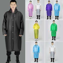 Men Women Waterproof Jacket EVA Button Hooded Raincoat Rain