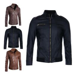 Mens Autumn Faux Leather Biker Coats Slim Jacket Zipper Outw