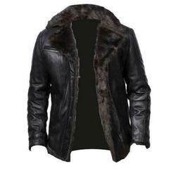 Mens Aviator Shearling Bomber Black Genuine Sheepskin Leathe