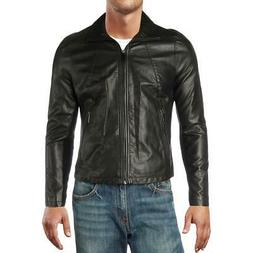 Kenneth Cole Reaction Mens Black Biker Motorcycle Jacket Out