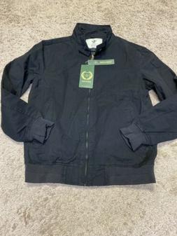 Wenven Men's Black Bomber Jacket Canvas Size Small S