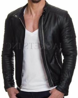 mens black genuine lambskin leather jacket slim