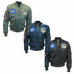Mens Alpha Industries Black MA1 NASA Retro Flight Pilot Bomb