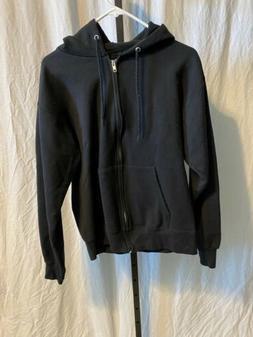 Mens Black Hanes Zip Up Hooded Sweatshirt Jacket Small  Nwot