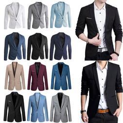Mens Blazer Jacket Casual Formal One Button Business Slim Ja