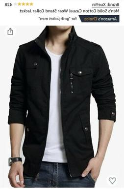 Mens Casual Stand Collar Jacket Black Small