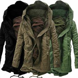 Mens Coat Military Cotton Fleece Hooded Warm Jacket Outerwea