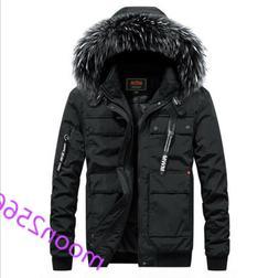 Mens Cotton Down Coat Warm Winter Fur Collar Hooded Jacket T