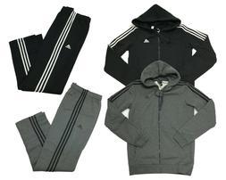 Adidas Mens Essential Cotton 3 Stripe Full Zip Hoodie Pants