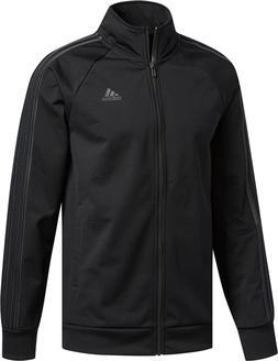 mens essential track jacket black zip long