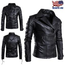 Mens Fashion Punk Jackets Slim Biker Motorcycle Leather Jack