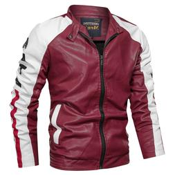 Mens Faux Leather Jackets Coats Luxury Classic Motorcycle Mu