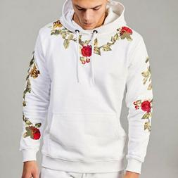 Mens Floral Warm Hoodies Slim Fit Hooded Sweatshirt Outwear