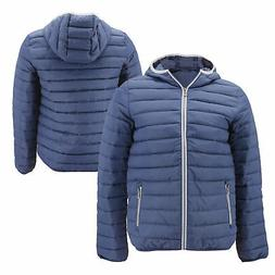 Men's Hooded Lightweight Packable Zip Insulated Quilted  P