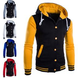 Men's Hoodie Baseball Varsity College Button Jacket Sweatshi