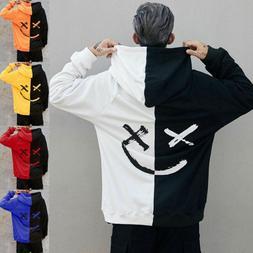 Mens Hoodies Sweatshirts Jacket Coat Smiling Face Print Fash