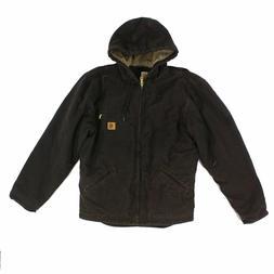 Carhartt Mens Jacket Brown Size M Hooded Full Zip Sherpa Lin
