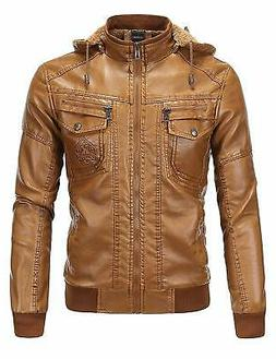 Tanming Mens Jacket Brown Size Medium M Faux Leather Removab