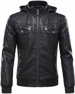 Tanming Mens Jacket Rich Black Size XL Hooded Faux-Leather Z