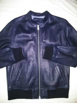 TOMMY HILFIGER Mens LARGE Moto/Bomber LAMB LEATHER Jacket IN