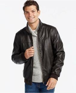 Men's Large Size Brown Leather Tommy Hilfiger Jacket Coat