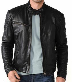 Mens Leather Jacket Black Slim Fit Biker Motorcycle Genuine