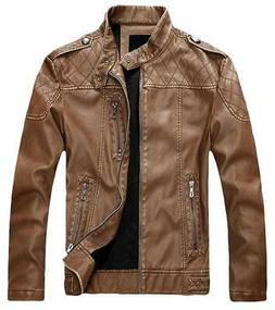Chouyatou Mens Leather Jacket Brown Size Medium M Vintage St