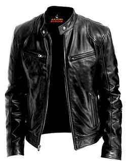 Mens Leather Jacket Real Genuine Cowhide Leather Winter Styl