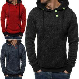 Mens Long Sleeve Hoodie Sweatshirts Hooded Jacket Casual Spo