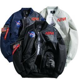 Mens Ma1 Flight Jacket Coat NASA Style Bomber Pilot Puffer J