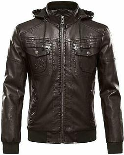 Tanming Mens Motorcycle Jacket Coffee Brown Size XS Fleece L