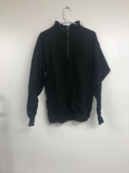 Hanes Mens Nano Quarter-Zip Fleece Jacket , Black , Medium
