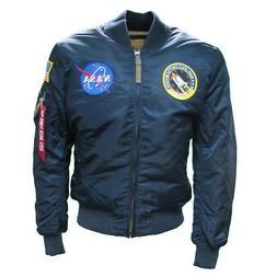 Mens Alpha Industries Navy Blue MA1 NASA Retro Flight Pilot