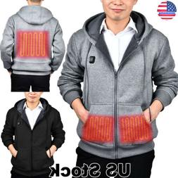 MENS OUTWEAR ELECTRIC HEATED HOODIE THERMAL COAT JACKET LOOS