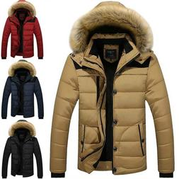 Mens Padded Puffer Quilted Hooded Down Coat Jacket Winter Wa