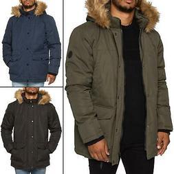 Mens Parka Jacket Faux Fur Trimmed Hooded Winter Warm Long P